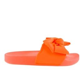 Orange flip-flops with a neon MU-6 bow