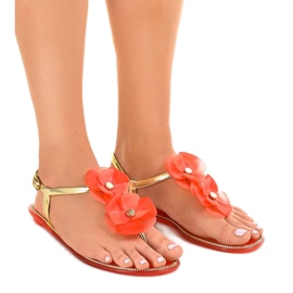 Yellow Red flip-flops with flower KG19P
