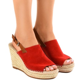 Red sandals wedge with KA-20 espadrilles