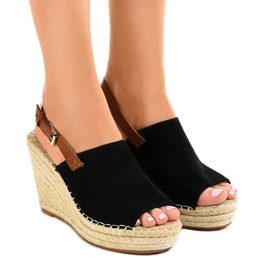 Black KA-20 espadrilles wedge sandals