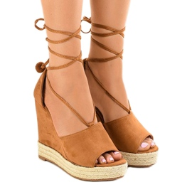 Brown sandals on wedge F35-18 espadrilles