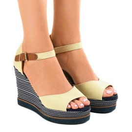 Brown Beige sandals on wedge 9079 espadrilles