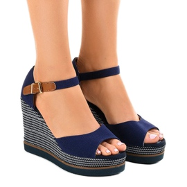 Navy Dark blue sandals on wedge 9079 espadrilles