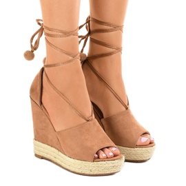 Brown Beige espadrilles FK-228 wedge heel sandals