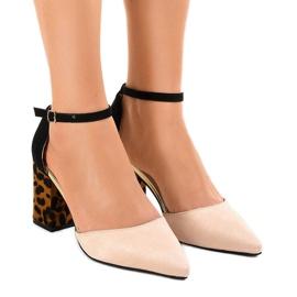 Beige suede high heels pumps FR276 brown