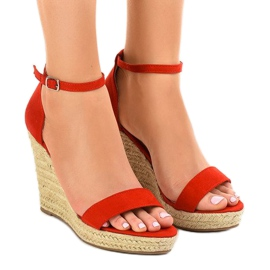 Red sandals on wedge BD342 espadrilles