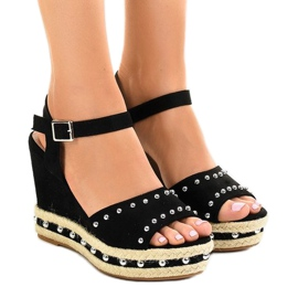 Black wedge sandals pearls 77-32