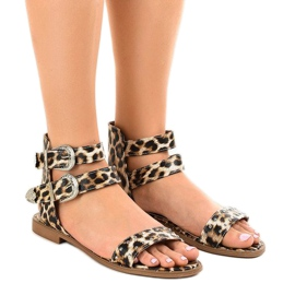 Leopard flat sandals decorated with LL-122P