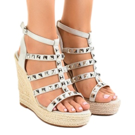 Grey Gray sandals on straw wedge 9529