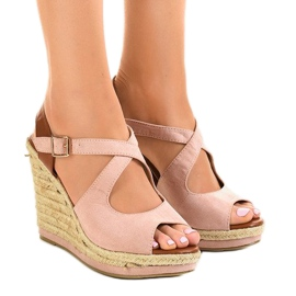 Pink sandals on wedge heels LM-0205