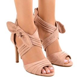 Pink suede sandals high heels bow J-23