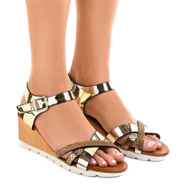 Golden wedge sandals decorated 3024-32 yellow