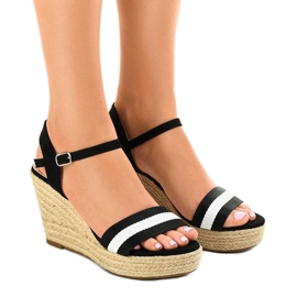 Black espadrilles wedge sandals 9072