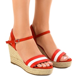 Red espadrilles wedge sandals 9072