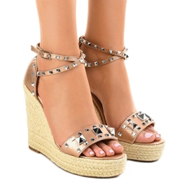 Copper suede sandals on wedge 100-863SC