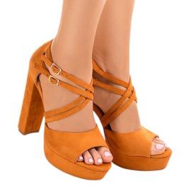 Orange sandals on the suede stiletto D09