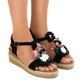 Black wedge sandals with flowers 218-168