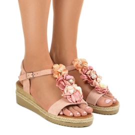 Pink wedge sandals with flowers 218-168