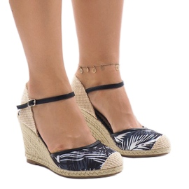Black espadrilles wedge heels 1190-138