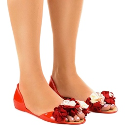 Red meliski sandals with AE20 flowers