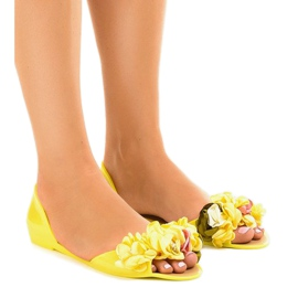 Yellow meliski sandals with AE20 flowers