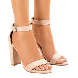 Brown Beige sandals on the post with buckle 369-18