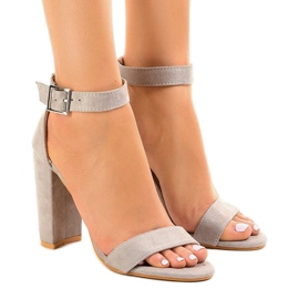 Grey Gray sandals on the post with buckle 369-18