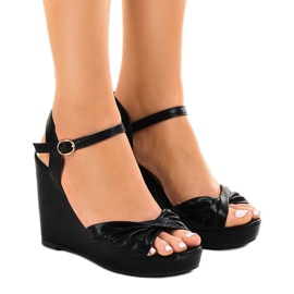 Black shiny wedge sandals JM-M215M