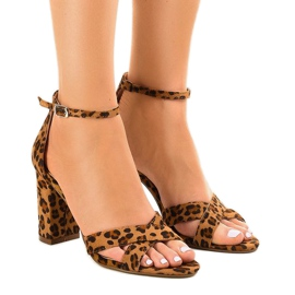 Panther sandals on a post with suede P-6399