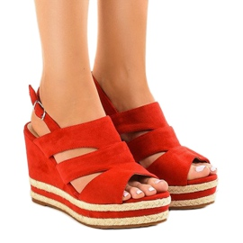 Red espadrilles FG6 wedge heel sandals