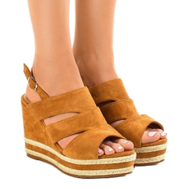 Brown espadrilles FG6 wedge sandals