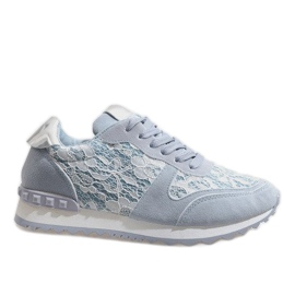 Blue sneakers with G-100 lace