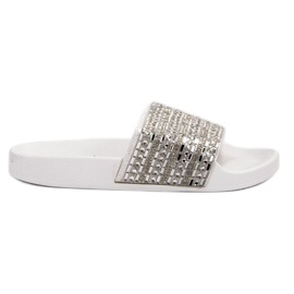 Queen Vivi white Slippers With crystals