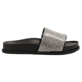 Bestelle black Rubber Slippers With Zircons