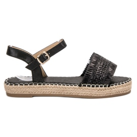 Small Swan Espadrilles Black Sandals