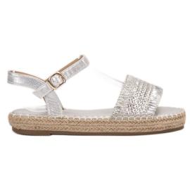 Small Swan grey Espadrilles silver sandals