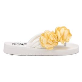SHELOVET white Light Flip-flops With Flowers