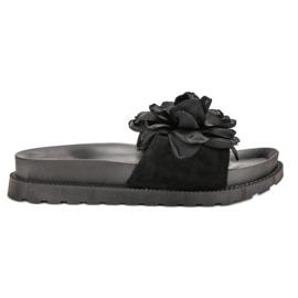 Queen Vivi black Suede Flip Flops With Flowers