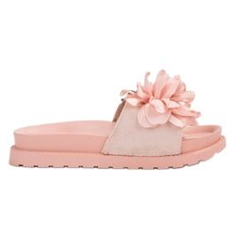 Queen Vivi pink Suede Flip Flops With Flowers
