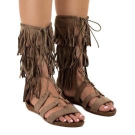 Taupe flat gladiator sandals D-41