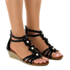 Black B125 wedge sandals