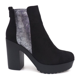 Suede Leather Boots RBS-8 Black