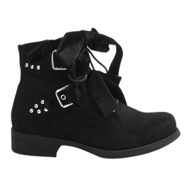 Suede Ankle Boots With Bows QQ660 Black
