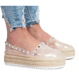 Champagne espadrilles on wedge Glam