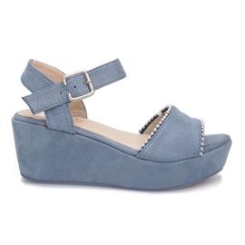 Blue sandals on Lagoon wedge