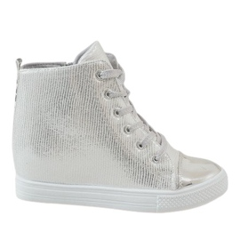 Grey Silver sneakers on wedge 29333-2