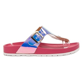 Ideal Shoes pink Flip-flops With Holo Effect