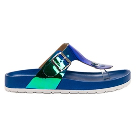 Ideal Shoes blue Flip-flops With Holo Effect