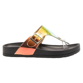Ideal Shoes black Flip-flops With Holo Effect