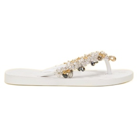 SHELOVET white Rubber Flip-flops With Ornaments